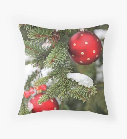 Red Christmas balls on snowy fir Throw Pillow