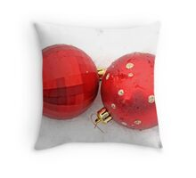Two red satin glass Christmas balls on snow Throw Pillow