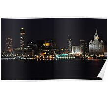 LIVERPOOL WATERFRONT AT NIGHT Poster