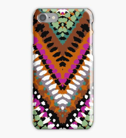 Bohemian print with chevron pattern in vintage colors iPhone Case/Skin