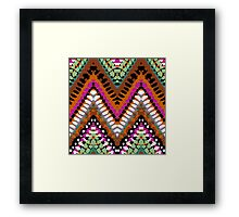 Bohemian print with chevron pattern in vintage colors Framed Print