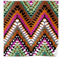 Bohemian print with chevron pattern in vintage colors Poster