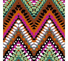 Bohemian print with chevron pattern in vintage colors Photographic Print