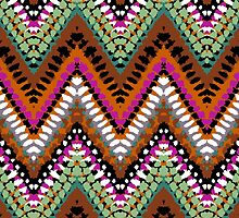 Bohemian print with chevron pattern in vintage colors by tukkki