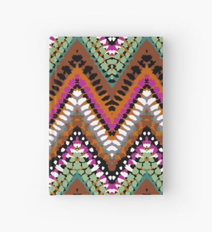 Bohemian print with chevron pattern in vintage colors Hardcover Journal