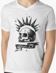 Misfit Skull White Mens V-Neck T-Shirt