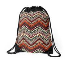Bohemian print with chevron pattern in autumn colors Drawstring Bag