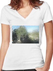 Steamy window Women's Fitted V-Neck T-Shirt