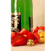 Wine bottle, red heart, jingle bell, gold ball and ribbon Photographic Print