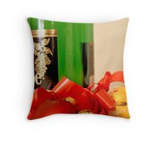 Wine bottle, red heart, jingle bell, gold ball and ribbon Throw Pillow