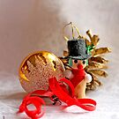 Snowman, gold ball and pine cone by pogomcl