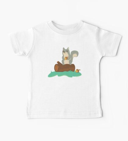 Squirrel with Acorn Sitting on Log Baby Tee