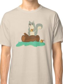 Squirrel with Acorn Sitting on Log Classic T-Shirt