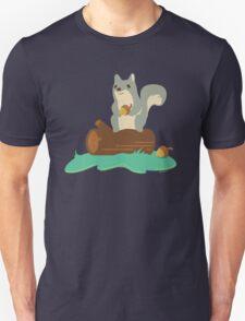 Squirrel with Acorn Sitting on Log Unisex T-Shirt