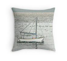 Boat at Beer Throw Pillow