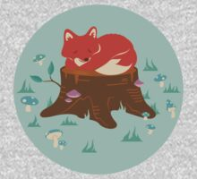 Fox Sleeping on Tree Stump in Forest One Piece - Long Sleeve