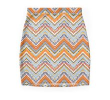 Bohemian print with chevron pattern in natural colors Mini Skirt
