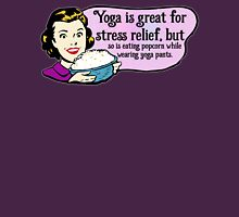 Retro Yoga Woman - Relieve Stress - Eat Popcorn in Yoga Pants - Stress Eating Parody Womens Fitted T-Shirt