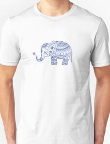 Cute Navy Blue Retro Floral Elephant T-Shirt