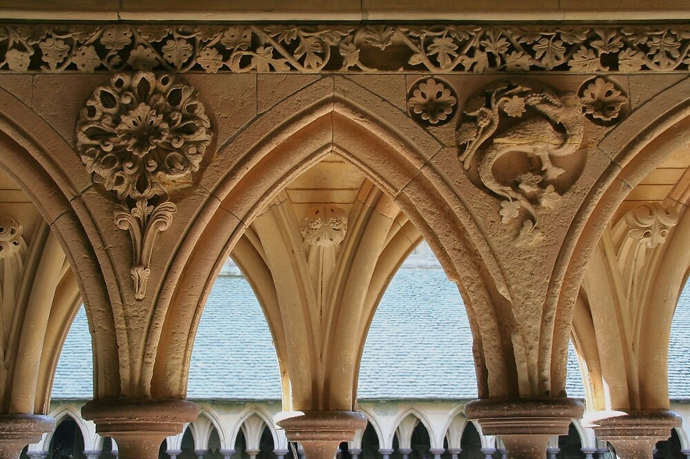 Cloister detail, Mont St Michel by Morag Anderson