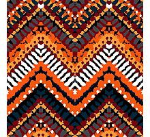 Bohemian print with chevron pattern in fall colors Photographic Print