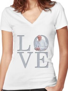 Love with Pope Francis Women's Fitted V-Neck T-Shirt