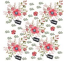 Watercolor Red Flower Pattern Photographic Print