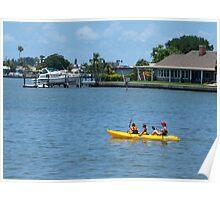 Kayaking on the waterway Poster