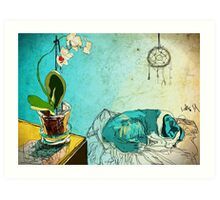 dog and orchid Art Print