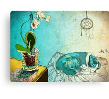 dog and orchid Metal Print