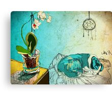 dog and orchid Canvas Print