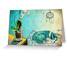 dog and orchid Greeting Card