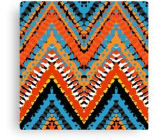 Bohemian print with chevron pattern in red blue colors Canvas Print