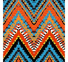 Bohemian print with chevron pattern in red blue colors Photographic Print