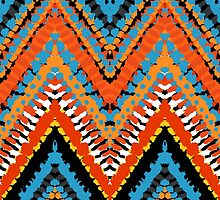 Bohemian print with chevron pattern in red blue colors by tukkki