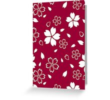 Japanese Red Kimono Fabric Pattern Greeting Card