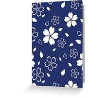 Japanese Blue Kimono Fabric Pattern Greeting Card