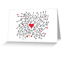 Red Heart With Arrow Greeting Card