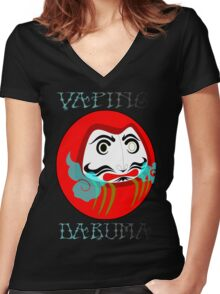 vaping daruma Women's Fitted V-Neck T-Shirt