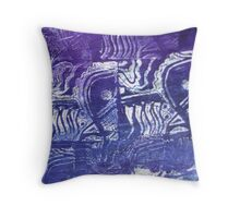 Blue Fish Abstract  Throw Pillow