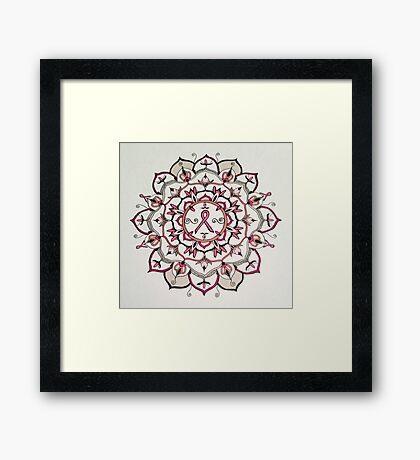Pink Ribbon Mandala Framed Print