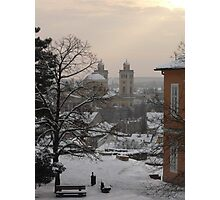 A winters evening in Eger Photographic Print