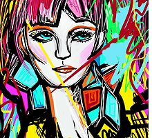 Abstract Colorful Red Head Girl by Inspired2Cre8