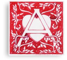 Red Heart Letter A Canvas Print