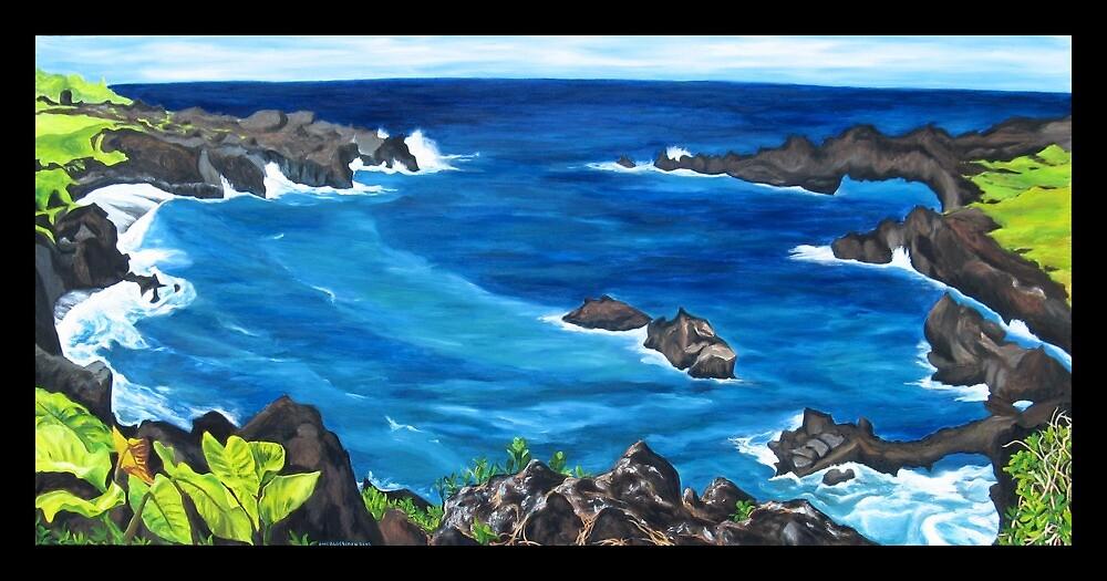 """""""Waianapanapa Black Sand Beach, Maui.""""  by amyglasscockart"""