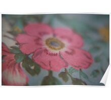 Rose on vintage fabric apron Poster