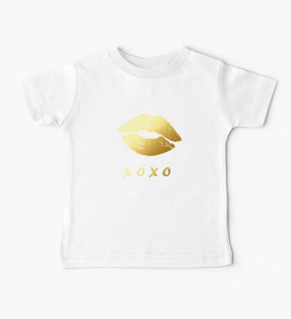 XOXO Hugs Kisses and Gold Lips (Hot Red) Baby Tee