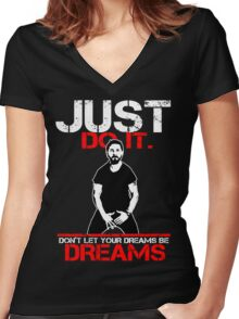 Shia Labeouf Dreams (Black Version) Women's Fitted V-Neck T-Shirt