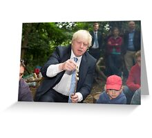 London Mayor Boris Johnson toasts dough during his visit to new kids' adventure centre in Bexley Greeting Card