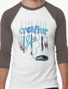 Connected Creative in Blue Men's Baseball ¾ T-Shirt